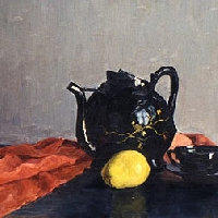 Stll Life with a Japanese Teapot and Fruit