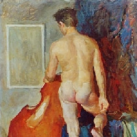 Male Nude with Double Bass