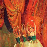 Ballerinas in Green Costume
