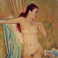 Nude with a Pink Ribbon