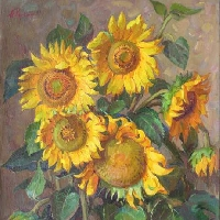 Sunflowers on Dark Background