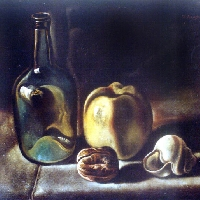 Bottle, Apple and Nut