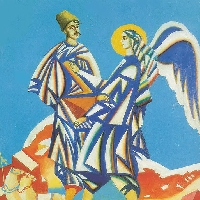 Cossack Fighting an Angel