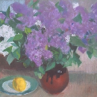 Still Life with Lilacs and a Lemon