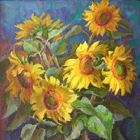 Sunflowers on Deep Blue