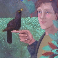 Man and blackbird
