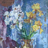 Irises in Golden Vase