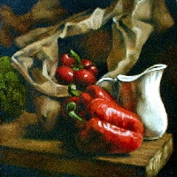 Red Peppers and Mill Jug