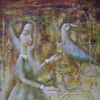 Woman and a Blue Bird