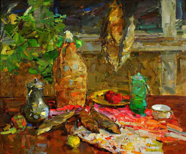 Fedor Zakharov: Still Life With Fish - Oil on Board