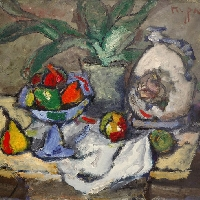 Fruits in Blue Vase
