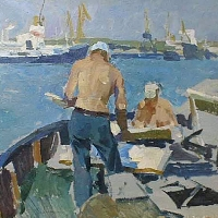 Artists Painting at the Odessa Port