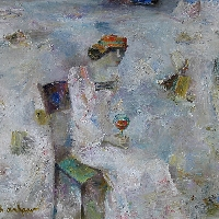 Woman in White with Glass of Vine
