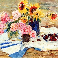 Still-Life with Roses, Sunflowers and Cherries