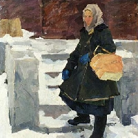 Woman With Blue Mittens