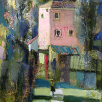 Landscape with pink House