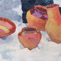 Clay Pots In the Snow