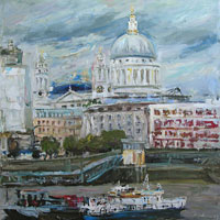 Cityscape of St Paul's Cathedral in London