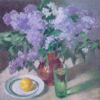 Still Life With Lilacs, Lemon and a Glass