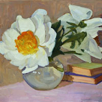 Still Life with Peonies and Books