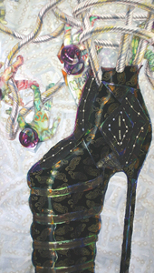 Black Shoe. From Orbiting Shoes Series - Tapestries on Hangers.