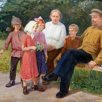 Lenin with his Wife Krupskaya and Children